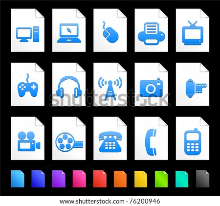 Technology Icon on Document Icon Collection Original Illustration - stock vector