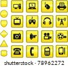 Technology Icon on Yellow Sign Button Collection Original Illustration - stock vector