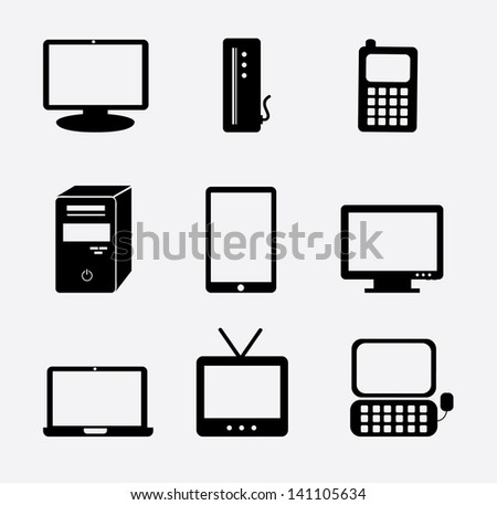 Technology icons over white background. vector illustration - stock vector