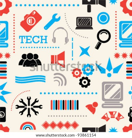 Technology icons seamless background - stock vector