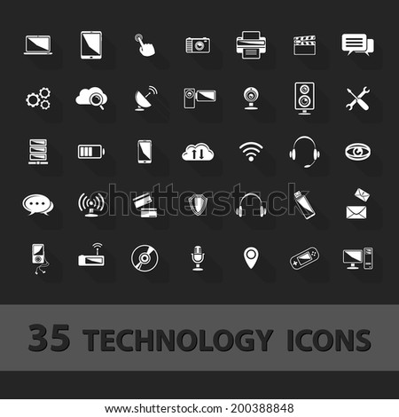 Technology icons set:cloud, storage, communications, telephone, antenna, camera, tablet,computer, headphones, console, wireless... - stock vector