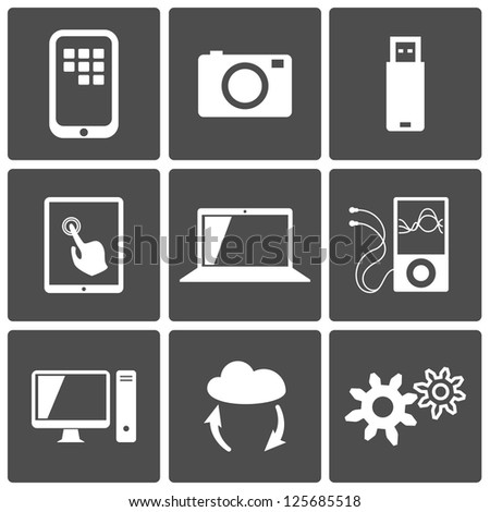 Technology icons set: computer, touch screen, photo, player, cloud, usb - stock vector