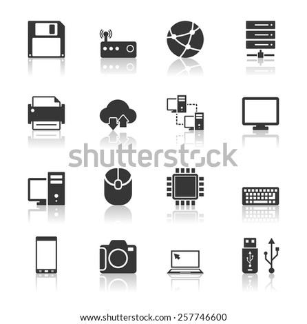 Technology Icons Set with reflection - stock vector