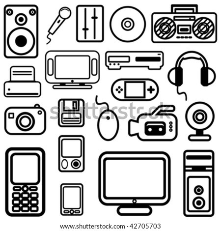 technology icons vector - stock vector