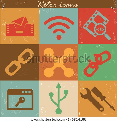 Technology icons,Vintage version,vector - stock vector