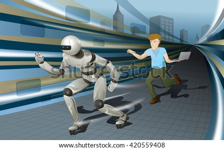 Technology is developed very fast so people should not stop learning new knowledge and catching new innovation - stock vector