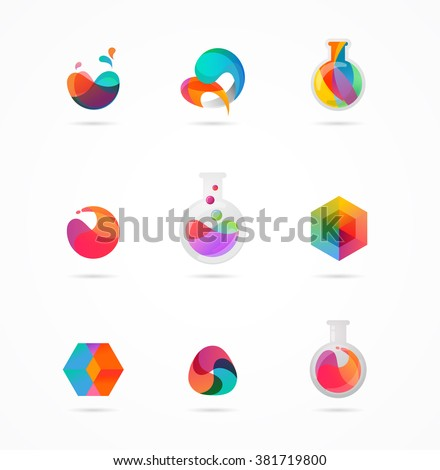 Technology, laboratory, creativity innovation and science abstract icons - stock vector