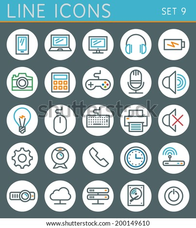Technology line icons set. Vector web design elements - stock vector