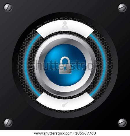 Technology login screen with big padlock button - stock vector