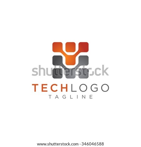 Technology logo, computer and data related business, hi-tech and innovative - stock vector