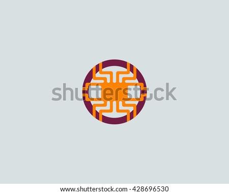 Technology logotype. Electronic vector logo. Chip symbol. - stock vector