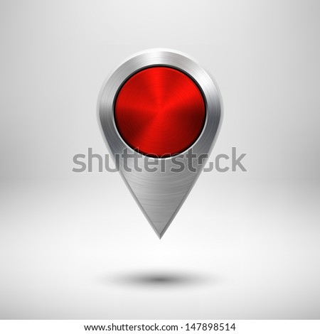 Technology map pointer (button, badge) template with red metal texture (chrome, silver, steel), realistic shadow and light background for user interfaces (UI), applications (apps) and presentations. - stock vector