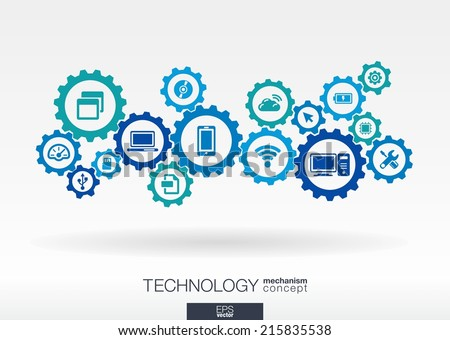 Technology mechanism concept. Abstract background with integrated gears and icons for digital, internet, network, connect, communicate, social media and global concepts. Vector infograph illustration - stock vector
