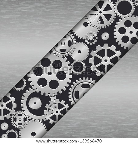 Technology metal background with gear wheels. Vector illustration. - stock vector