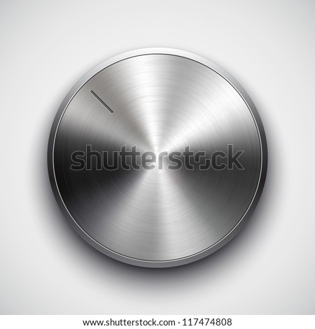 Technology music button (volume settings, sound control knob) with metal texture (stainless steel, chrome), shadow and light background for web user interface interface (ui). Vector illustration. - stock vector
