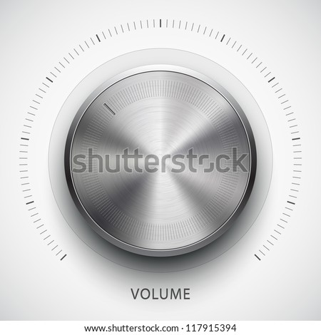 Technology music button (volume settings, sound control knob) with metal texture (stainless, steel, chrome), shadow and light background for internet sites, web interfaces (ui) and applications (apps) - stock vector