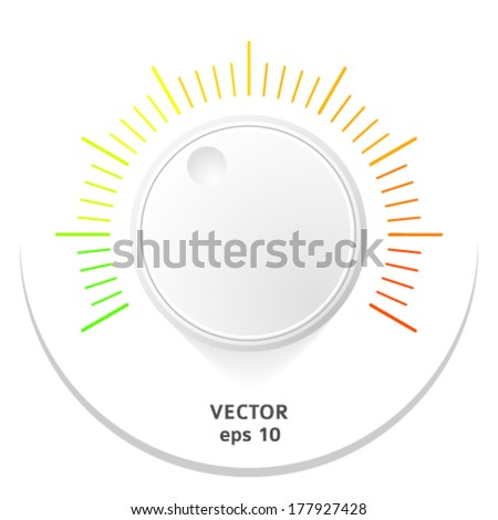 Technology music button (volume settings, sound control knob) with plastic texture, shadow and light background for internet sites, web interfaces (ui) and applications (apps). Vector illustration - stock vector