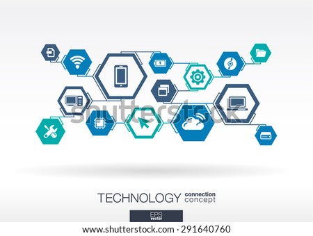 Technology network. Hexagon abstract background with lines, integrate flat icons. Connected symbols for digital, connect, communicate, social media and global concepts. Vector interactive illustration - stock vector