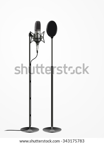Technology object, sound recording equipment concept- Studio 3d silver microphone, cable and black pop shield on mic stand. realistic design, vector art image illustration isolated on white background