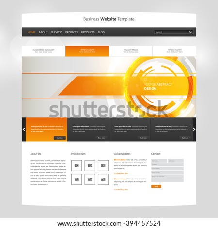 Technology Orange Colored Website Template Vector Eps10, Modern Web Design with flat UI elements and abstract header. Ideal for Business layout.  - stock vector