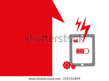 Technology placeholder with themes about handheld device features Set 3. Battery Issues Theme. Editable EPS10 Vector  and jpg Illustration ideal as advertising and promotional template.  - stock vector