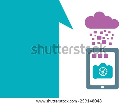 Technology placeholder with themes about handheld device features Set 5. Camera and Photo Editing Apps.Editable EPS10 Vector  and jpg Illustration ideal as advertising and promotional template.  - stock vector