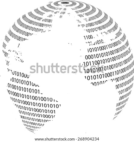 Technology planet. Binary code background . Vector illustration. - stock vector