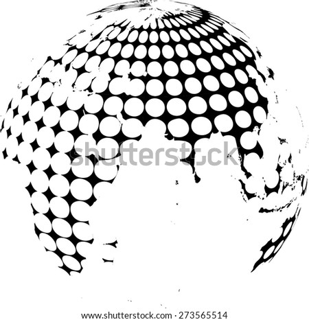 Technology planet. Dotted Earth Globe . Abstract World Globe . Vector illustration. - stock vector