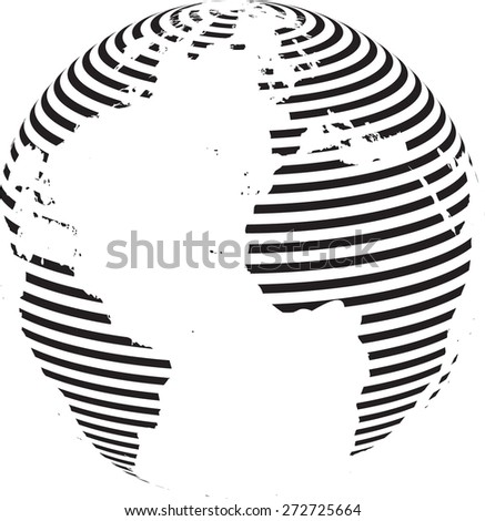 Technology planet. Striped Earth Globe . Abstract World Globe . Vector illustration. - stock vector