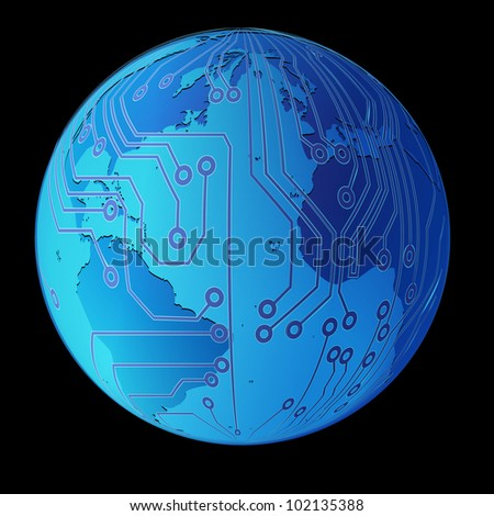 Technology planet. Vector illustration.