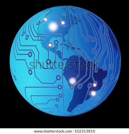 Technology planet. Vector illustration. - stock vector