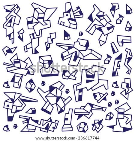 technology , robots - abstract doodles set - stock vector