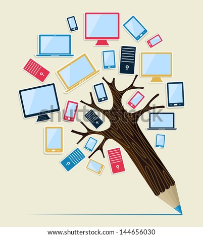 Technology smart devices concept pencil tree. Vector illustration layered for easy manipulation and custom coloring. - stock vector