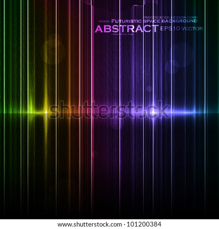 Technology template. Neon abstract, reflection lines vector backgrounds eps10 - stock vector