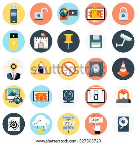 Technology theme, flat style, colorful, vector icon set for info graphics, websites, mobile and print media.
