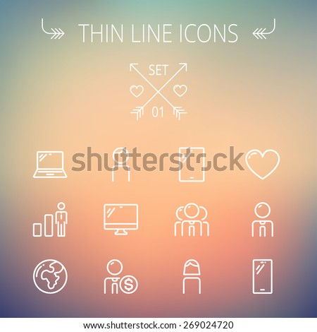 Technology thin line icon set for web and mobile. Set includes - laptop, tablet, computer, globe, man, woman, heart, statistics icons. Modern minimalistic flat design. Vector white icons on gradient - stock vector