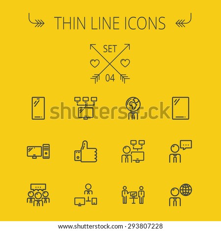 Technology thin line icon set for web and mobile. Set includes - Mobile phone, gadget, computer, CPU, global thumbs up, presentation. Modern minimalistic flat design. Vector dark grey icon on yellow - stock vector