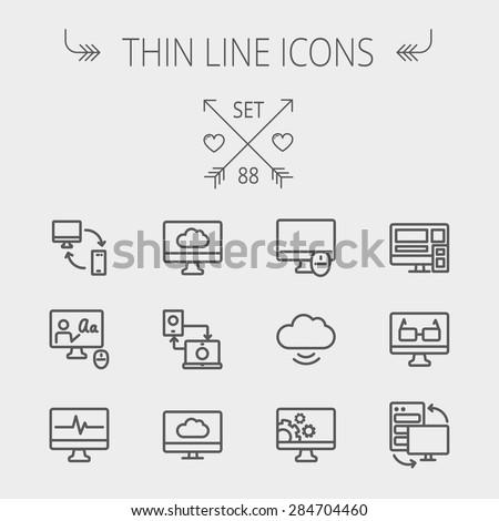 Technology thin line icon set for web and mobile. Set includes - monitors, smartphone, cloud, mouse, wifi, gear, speaker. Modern minimalistic flat design. Vector dark grey icon on light grey - stock vector