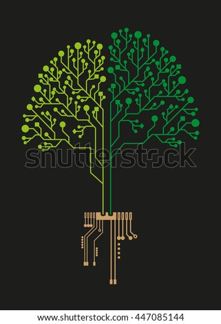 Technology tree circuit for ecology business - stock vector