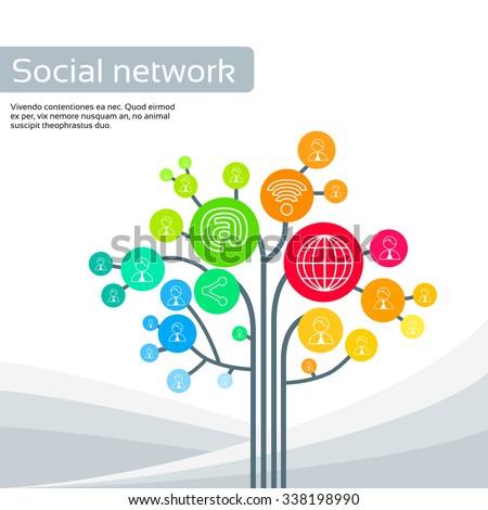 Technology Tree Social Media Icons Thin Line Logo Set Vector Illustration - stock vector