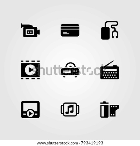 Technology vector icons set. credit card, radio and video camera