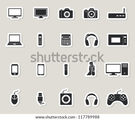technology web icons set. computer and electronic devices. paper stickers