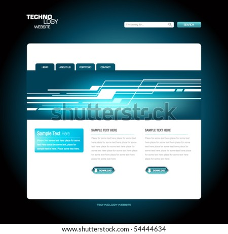Technology Website Template - stock vector