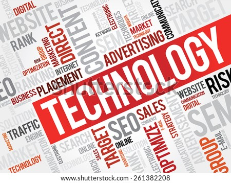TECHNOLOGY word cloud, business concept - stock vector