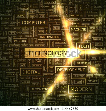 TECHNOLOGY. Word collage. - stock vector
