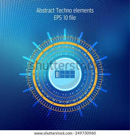 Tecnhology elements on dark blue background - stock vector