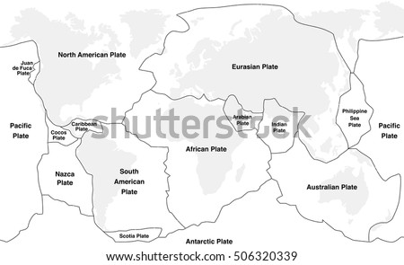 Tectonic plates tectonic plates names world stock vector 506320339 tectonic plates tectonic plates with names world map with fault lines of major an minor gumiabroncs Image collections