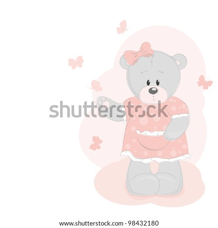 Teddy bear and butterfly