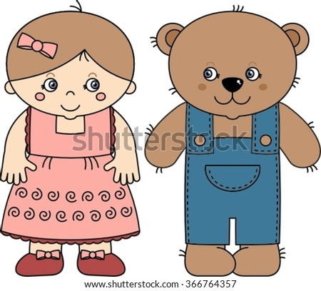 teddy bear and doll vector cartoon illustration isolated on white background