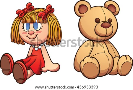 teddy bear doll vector clip art stock vector 436933393 shutterstock rh shutterstock com doll clipart images black and white doll clipart images